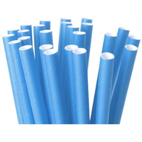 Canudo-Papel-Liso-Azul-20cm-Com-20un---Silver-Plastic---CP04006-